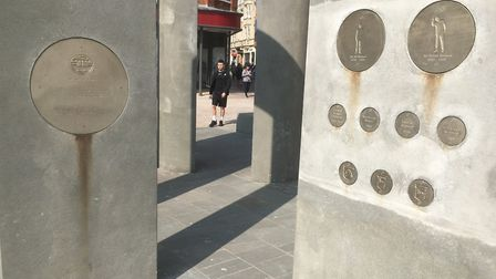 The concrete plinths are now stained by the metalic plaques. Picture: PAUL GEATER