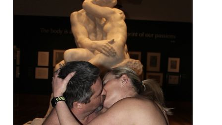 Members of British Naturists recreate The Kiss at Christchurch Mansion.