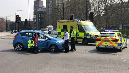 Crash opposite the Willis building in Ipswich involving two vehicles. Picture: ARCHANT