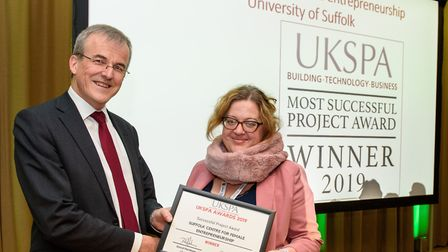 The University of Suffolk has won an award from the the UK Science Park Association for the Suffolk