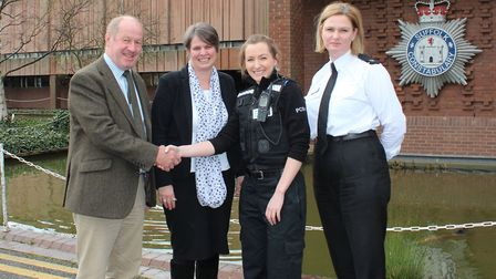 From Left to right, Police and Crime Commissioner, Tim Passmore, with CEO of the Raedwald Trust, An