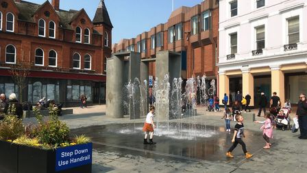 The fountains were switched on at Ipswich Cornhill at the start of the schools' Easter holidays. Pic