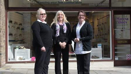 Marion Gordon, Lisa Southgate and Sharon Hall at their new shoe shop, Maresa Shoes Picture: Sarah