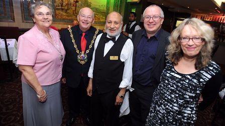 Mr pictured at the Maharani restaurant's 25th anniversary celebrations, with Barbara Quinton and Bil