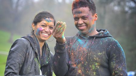 Anj Arasaratnam and Vitor Barbosa at the Holi Festival Picture: SARAH LUCY BROWN