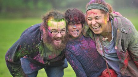Mark Record, Riaz Darwin Boyd and Shelly Darwin at the recent Holi Festival Picture: SARAH LUCY BROW