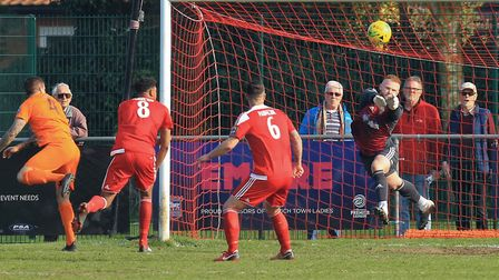 Felixstowe 'keeper Jack Spurling in action against Maldon, will need to be on top form when Felixsto