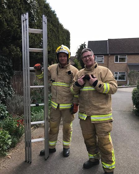 Firefighters Chris Woodland and Ben Buckley rescued tiny kittens Ethel and Edward who were stranded