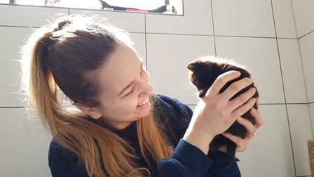 Edward with animal centre manager Zoe. Picture: RACHEL EDGE