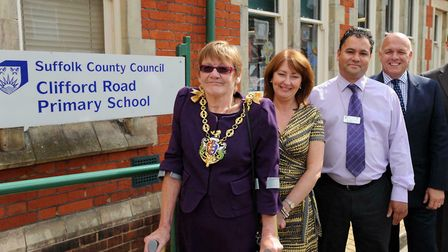 Jane Chambers during a visit to her old school, Clifford Road, during her period as mayor of Ipswich