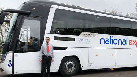 Coach driver Tim Robson, from Ipswich, of Galloway Travel with the National Express 55 seater coach