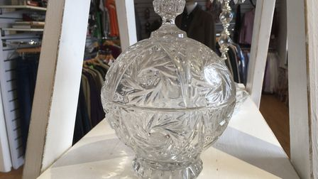 Unusual donations on sale at the new hospice shop in Heath Road, Ipswich A cut glass bonbon lidded