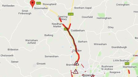 Traffic heading eastbound on the A14 is backed up for miles Picture: AA TRAFFIC NEWS