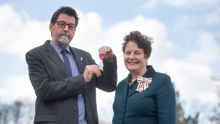 Halford Hewitt shows off his MBE in Ipswich after declining to collect the honour at Buckingham Pala