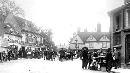 A busy day on St Margarets Plain, Ipswich, in 1897. This photograph, from the junction with Northgat