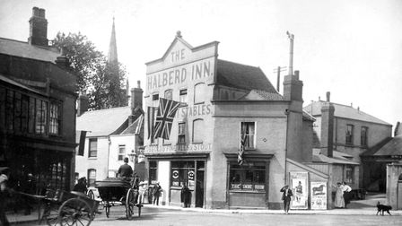 The Halberd Inn, at the entrance to Northgate Street from St Margarts Plain, in the early years of t