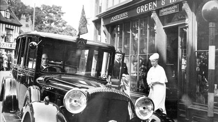 Queen Mary visited Green and Hatfields antique shop, at the corner of Northgate Street and St Marga
