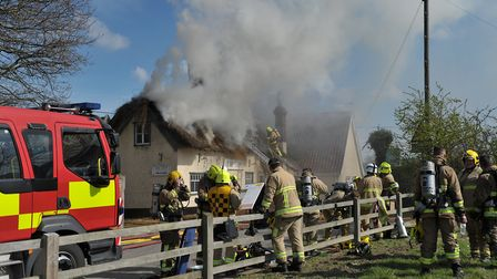 Firefighters from all over the county helped tackle a blaze at The Ship in Levington Picture: SARAH