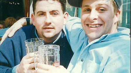 Goalkeeper Marty Smith with his cousin, Mark Smith Picture: TAVERNERS FC