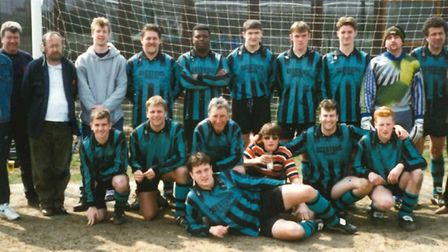 Long-running Ipswich-based Sunday footbal side, Taverners, on tour in Belgium in 19956, including go