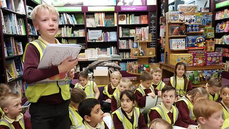 A packed Waterstones hear poems read by pupils from The Oaks Primary School. Picture: RACHEL EDGE