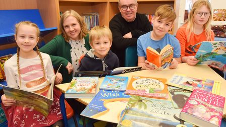Stutton Primary School win books for schools. Erin Foote, Asset Reading Advocate and Headteacher Gle