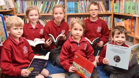 Charsfield CEVCP School celebrate winning Books For School Picture: SONYA DUNCAN