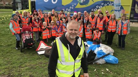 Award-winning anti-litter campaigner Jason Alexander with dozens of volunteers collected litter from