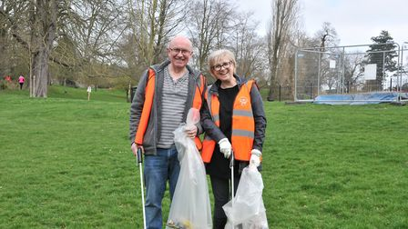 The group of more than 50 spent two hours tidying Ipswich. Picture: NICOLE DRURY