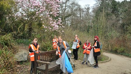 More than five bags of rubbish were collected across the two hours in Christchurch Park Ipswich. Pic