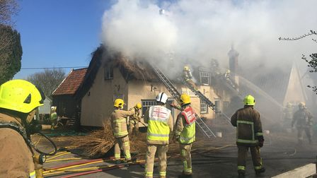 Crews from across Suffolk have been dealing with the blaze Picture: SOPHIE BARNETT