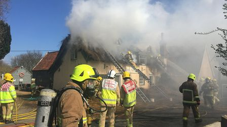 Crews have been using breathing equipment to help fight the fire at The Ship Picture: SOPHIE BARNETT
