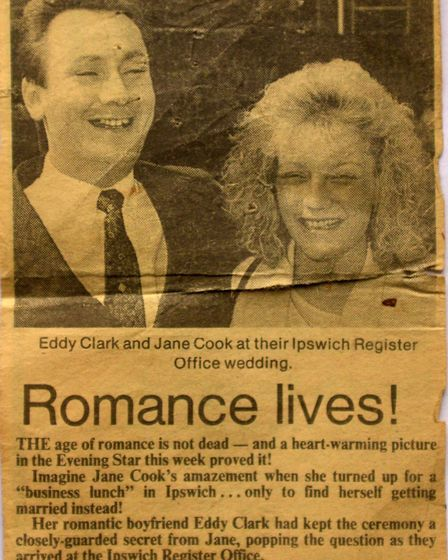 Jane and Eddie Clarke's surprise wedding made the Ipswich Star and East Anglian Daily Times back in