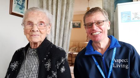Simon with Meals on Wheels user Mrs Robinson. Picture: RACHEL EDGE