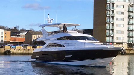 The last Fairline Squadron 65, produced by Fairline Yachts, sets out from the company's Ipswich Comm