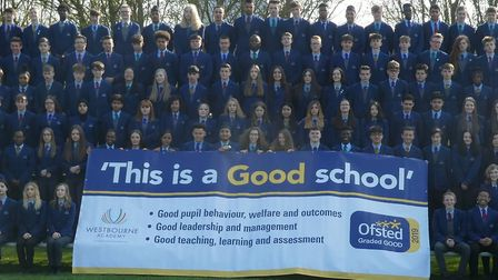 Students at Westbourne Academy celebrating their Ofsted inspection Picture: WESTBOURNE ACADEMY
