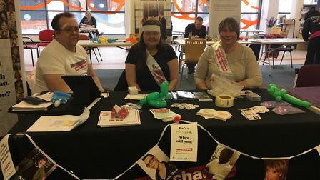 The 2017 'bandage' awareness event at Ipswich County Library. Brian Turner is on the left, Paula Mac