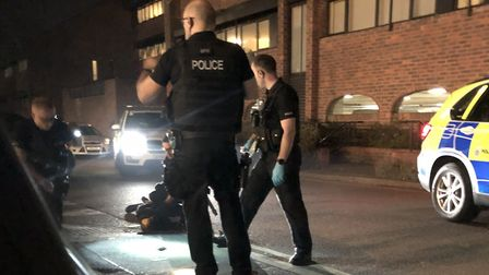 Armed police in the Ropewalk in Ipswich after a male was arrested Picture: Jared Easter