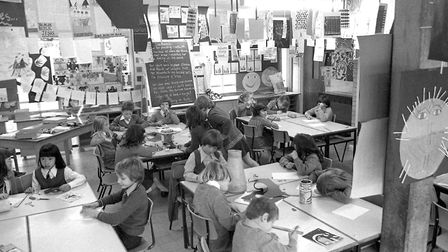 A class at Downing Primary School, Ipswich, in November 1977 Picture: JERRY TURNER