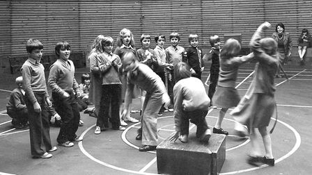 Keeping fit at Downing Primary School, Ipswich, in 1977 Picture: JERRY TURNER