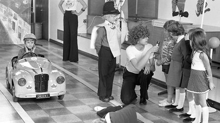 Learning the importance of road safety at Sprites Primary School, Ipswich, in September 1976 Picture