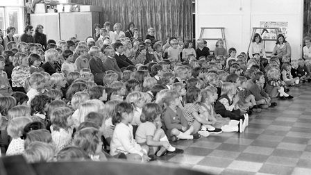 Learning the importance of road safety at Sprites Primary School, Ipswich, in September 1976 Pictur
