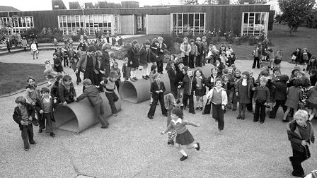 Playtime at Downing Primary School, Ipswich, in November 1977 Picture: JERRY TURNER