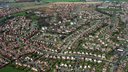 Sprites Infants School, Ipswich, is top right of this aerial view taken in March 1994 Picture: OWEN