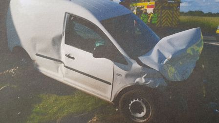 A van ended up on their front lawn after the crash in June 2017 Picture: NICOLA STANMORE