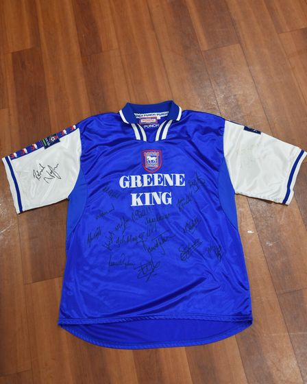 Richard Naylor signed and wore another of the shirts up for auction Picture: SONYA DUNCAN