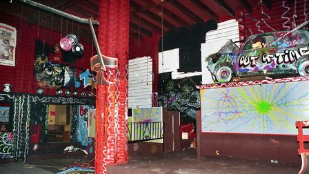 The interior of the brightly painted Cindy's nightclub as it was after closure in April 1993 Pictu