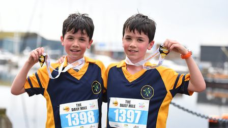 Jason and Alex Georgalas with their medals. Picture: SARAH LUCY BROWN