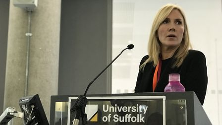 Catherine Bennett speaks at the #CanYouHearMe2019 Conference at the University of Suffolk