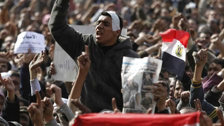 Mr Gaweesh was involved in the pro-democracy protests against President Mubarak, pictured here in Ca